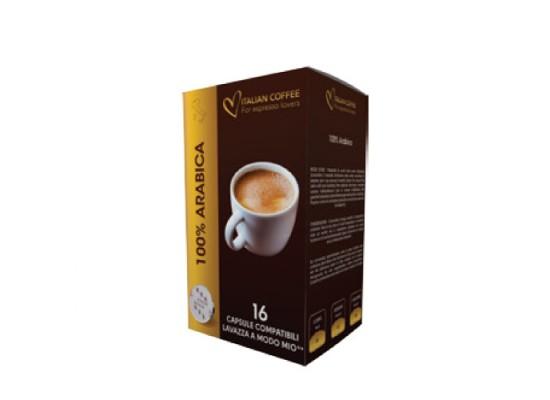 100% Arabica blend - 16 Coffee Capsules A Modo Mio Compatible by Best Espresso