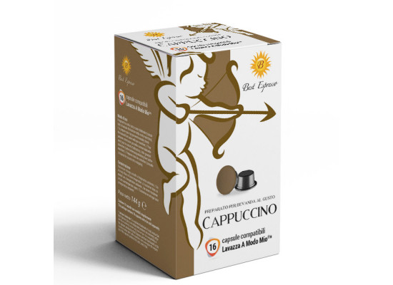 Cappuccino coffee  16 A Modo Mio Compatible coffee capsules by Best Espresso