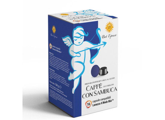 Sambuca coffee 16 A Modo Mio Compatible coffee capsules by Best Espresso