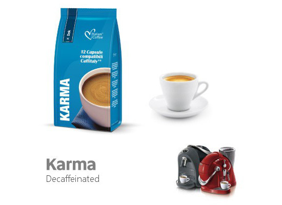 Karma - decaffeinated - 12  Coffee Capsules Caffitaly Compatible by Italian Coffee