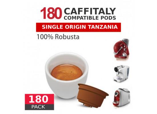 Tanzania Single Origin washed Robusta Coffee - 180 Coffee Capsules Caffitaly Compatible