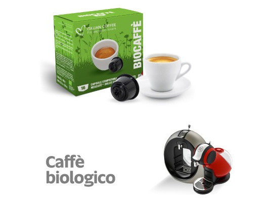 Organic Coffee - 16  coffee Capsules Dolce Gusto Compatible by Italian coffee
