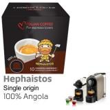 Hephaistos  Single Origin Angola 100% Robusta Coffee  - 10  Coffee Capsules Nespresso Compatible by Italian Coffee