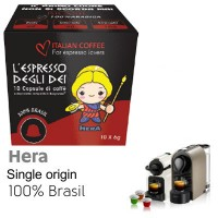 Hera Single Origin Brazil 100% Arabica Coffee - 10  Coffee Capsules Nespresso Compatible by Italian Coffee
