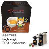 Hermes Single Origin Colombia 100% Arabica Coffee  - 10  Coffee Capsules Nespresso Compatible by Italian Coffee