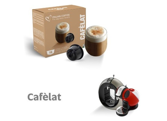 Cafélat - 16 coffee with milk Capsules Dolce Gusto Compatible by Italian coffee