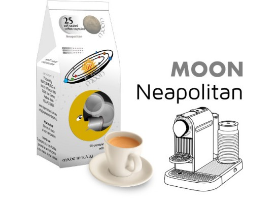 Moon Neapolitan coffee  25 Nespresso Compatible coffee capsules by Best Espresso