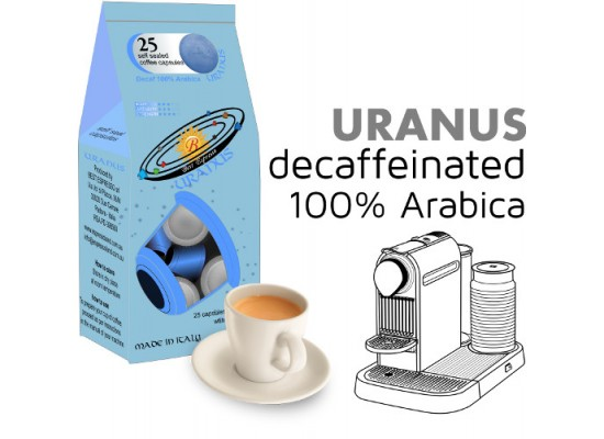 Uranus 100% Arabica decaf  25 Nespresso Compatible coffee capsules by Best Espresso